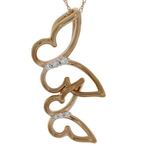 Rose Gold Diamond Accented Butterfly Pendant